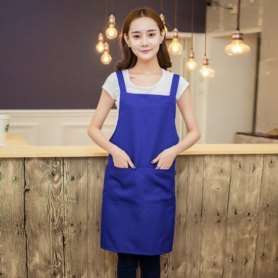 Mens and womens Sapphire Blue factory working color aprons promote the uniform face of workshop attendants in Shenzhen hotel