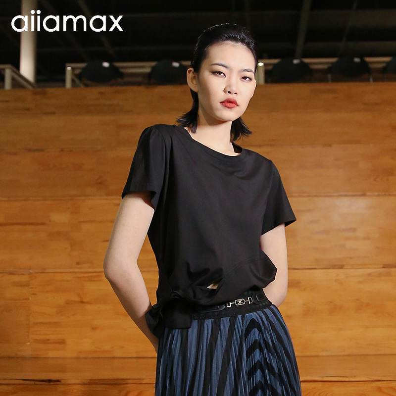 Aiiamax2021 spring and summer new bow sports casual T-shirt solid round neck loose T-shirt 27a01125