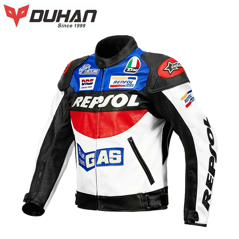 New Duhan motorcycle riding suit mens four seasons motorcycle suit PU leather jacket racing suit motorcycle suit