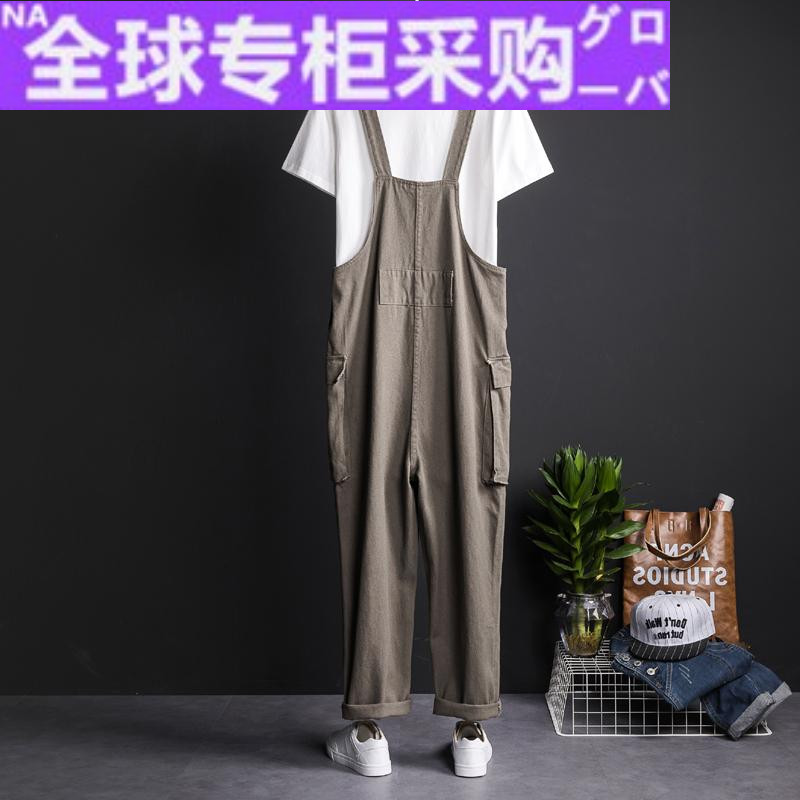 Japanese HF Japanese retro one-piece suspenders mens army green Multi Pocket loose overalls lovers leisure strap
