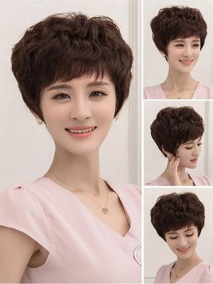 正品黛美丝假发女短发中老年假发蓬松自然真人发丝斜刘海短发假发