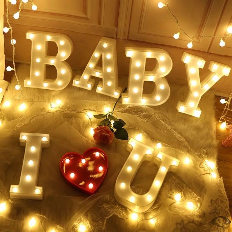 Led letter lights propose, decorate creative goods, decorate ins English, light up, birthday number lights, surprise net red