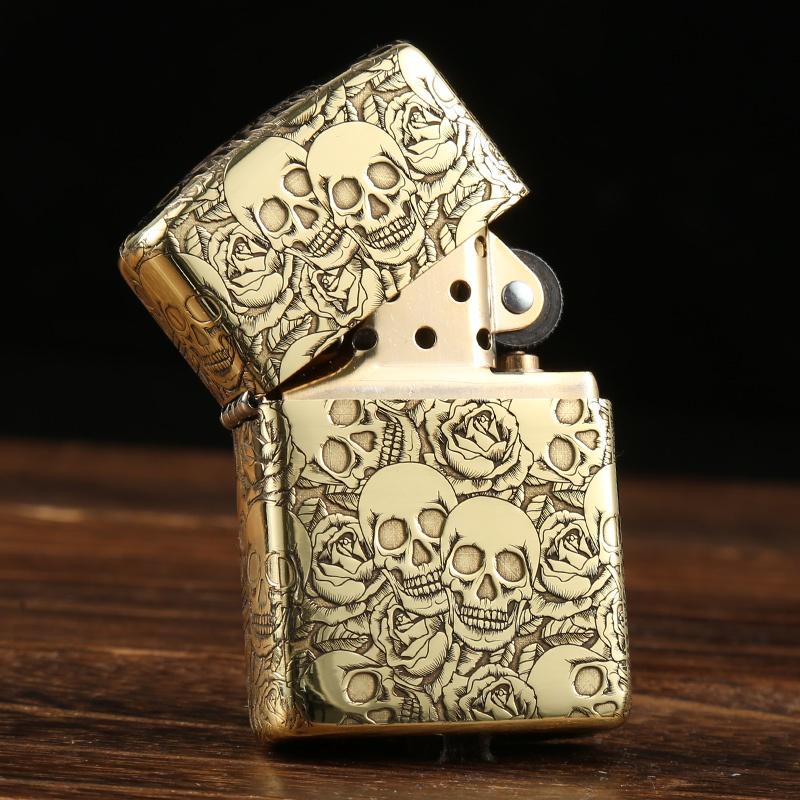 Genuine Zippo Lighter original genuine pure copper five side surrounding carved skeleton rose armor genuine