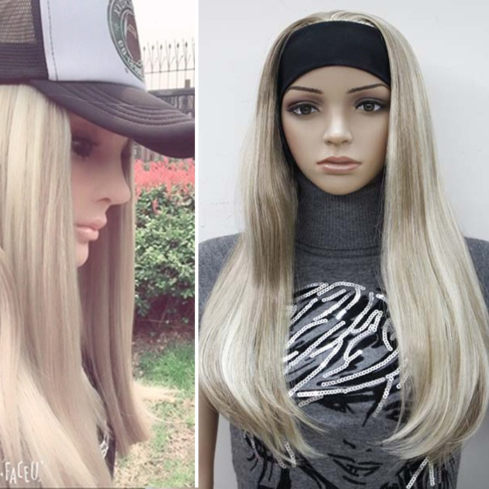 Genuine wig female hair band integrated full head set, European and American cos natural lifelike net red live broadcast face trimming medium long straight fake