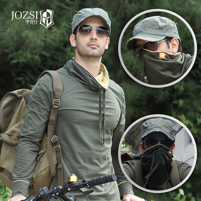Authentic personality outdoor mountain bike riding clothes mens spring and summer long sleeve T-shirt high collar sports leisure