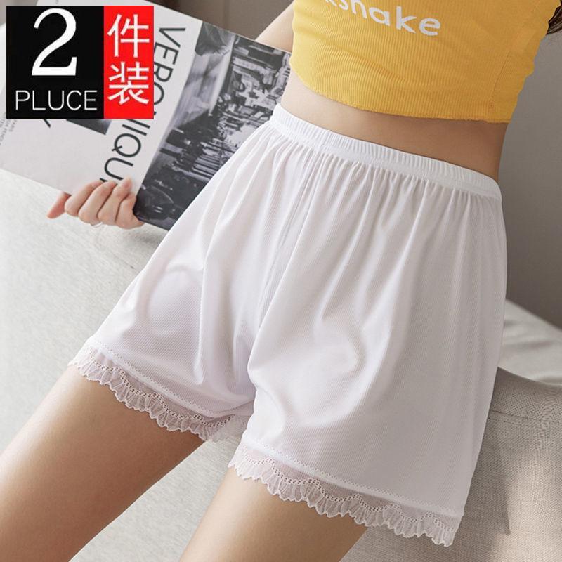 宽松安全裤女防走光可外穿薄款打底短裤显瘦不卷边白色蕾丝夏季