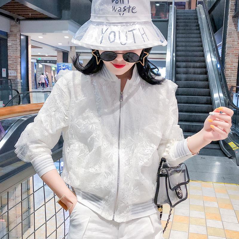 2021春装新款蕾丝短款外套女荷叶边棒球服宽松薄款开衫小夹克上衣