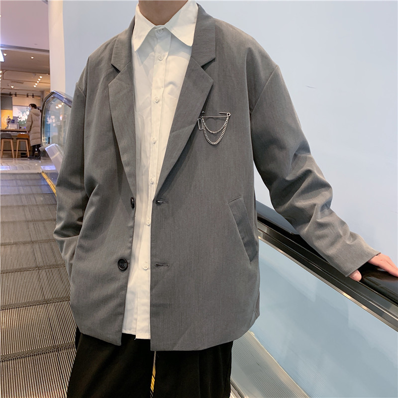 Spring new Hong Kong Style Lapel straight hem youth casual loose solid color suit