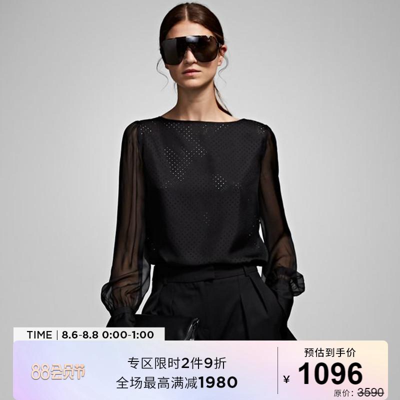 Karl Lagerfeld卡尔老佛爷春夏款蚕丝透视黑色女士通勤衬衫