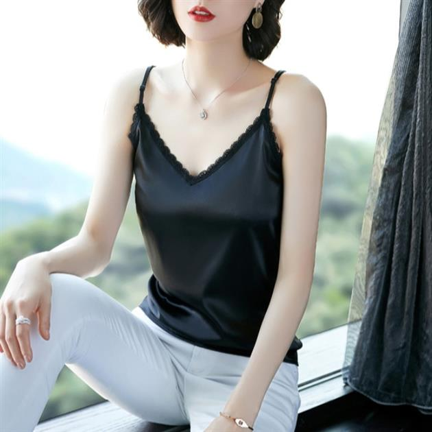 2021 Black T lace suspender vest womens summer suit with beautiful back, slim fit and bottom, and silk satin outside