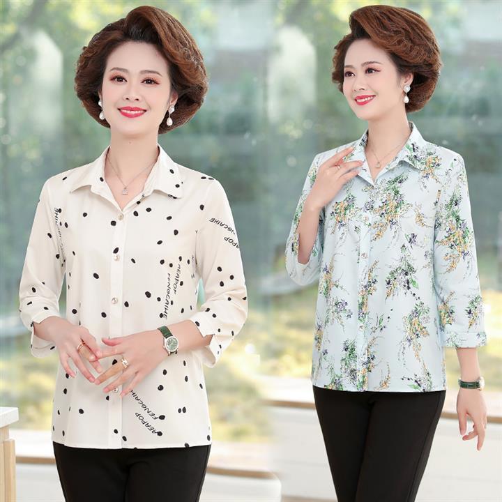 2021小f款外衣服40岁50妈妈中年人65妇女装春夏有领七分中袖衬衫