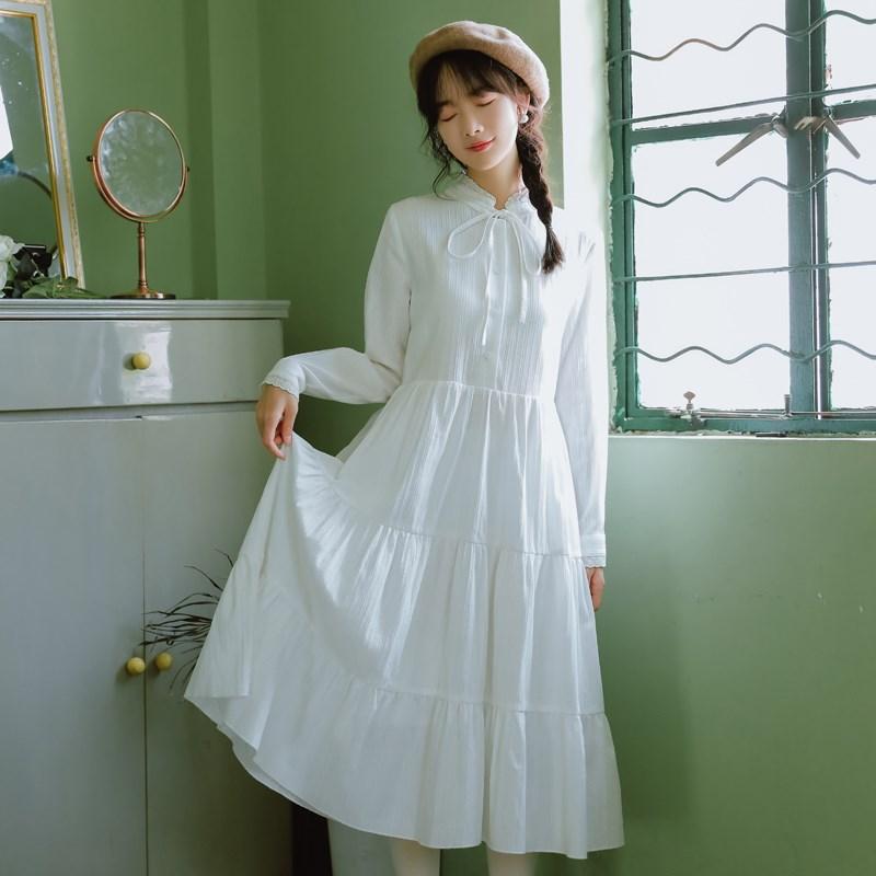森系文艺白色连衣裙女仙气质秋季新款棉质长袖打底长裙仙女裙学生