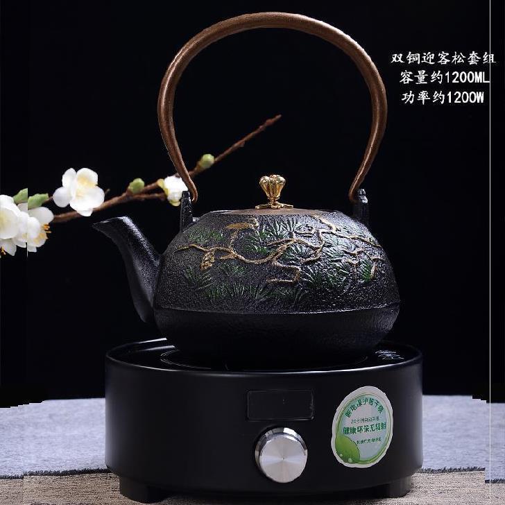 村月子茶盘样品火锅方铁壶铸铁泡茶煮水壶农便孕妇节能仿古麻绳线