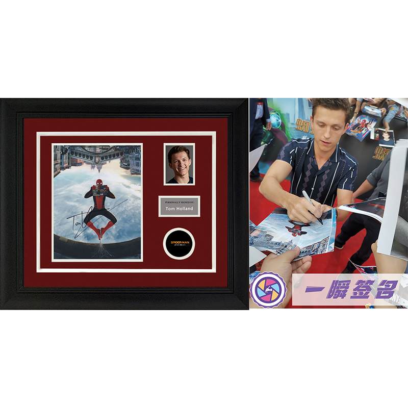 Collection of Spider Man Hero expedition Tom Holland autographed photos framed with a flash