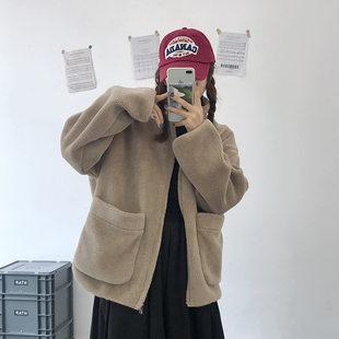 广东 广州WT181 韩版毛绒立领拉链大口袋外套宽松版型毛毛衣女冬 米色 咖色