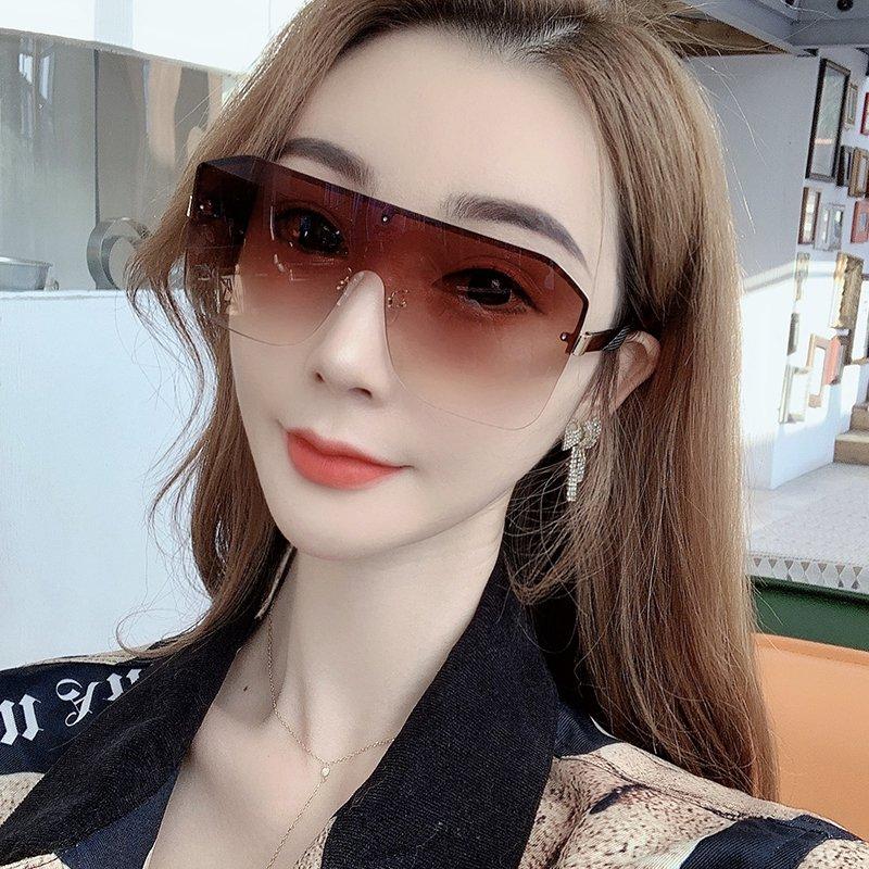 超大无框一体渐变色太阳镜女2020年新款男潮ins超火防风嘻哈墨镜
