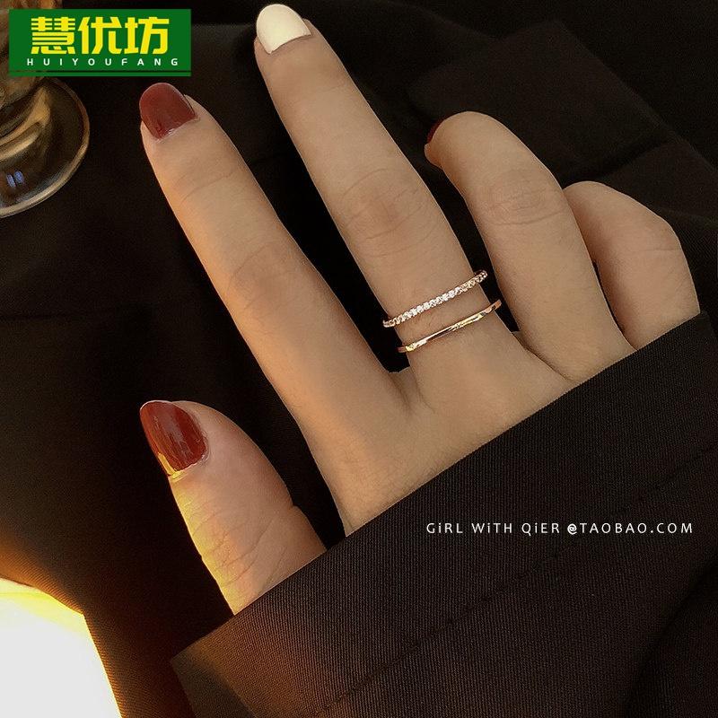时尚轻奢双层方形食指戒指女ins开口可调节小众设计精致个性指环