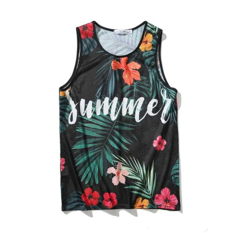 Beach plant flower pattern printed sleeveless T-shirt trendy mens and womens sports fitness training quick drying vest