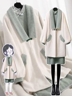 秋冬季裙子套装2020年新款大码女装中国风毛呢外套胖mm气质连衣裙