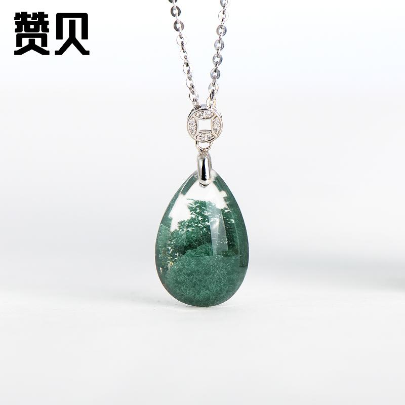 高品天然绿幽灵吊坠女银巴西绿幽灵水晶吊坠项链送女友送妈妈925