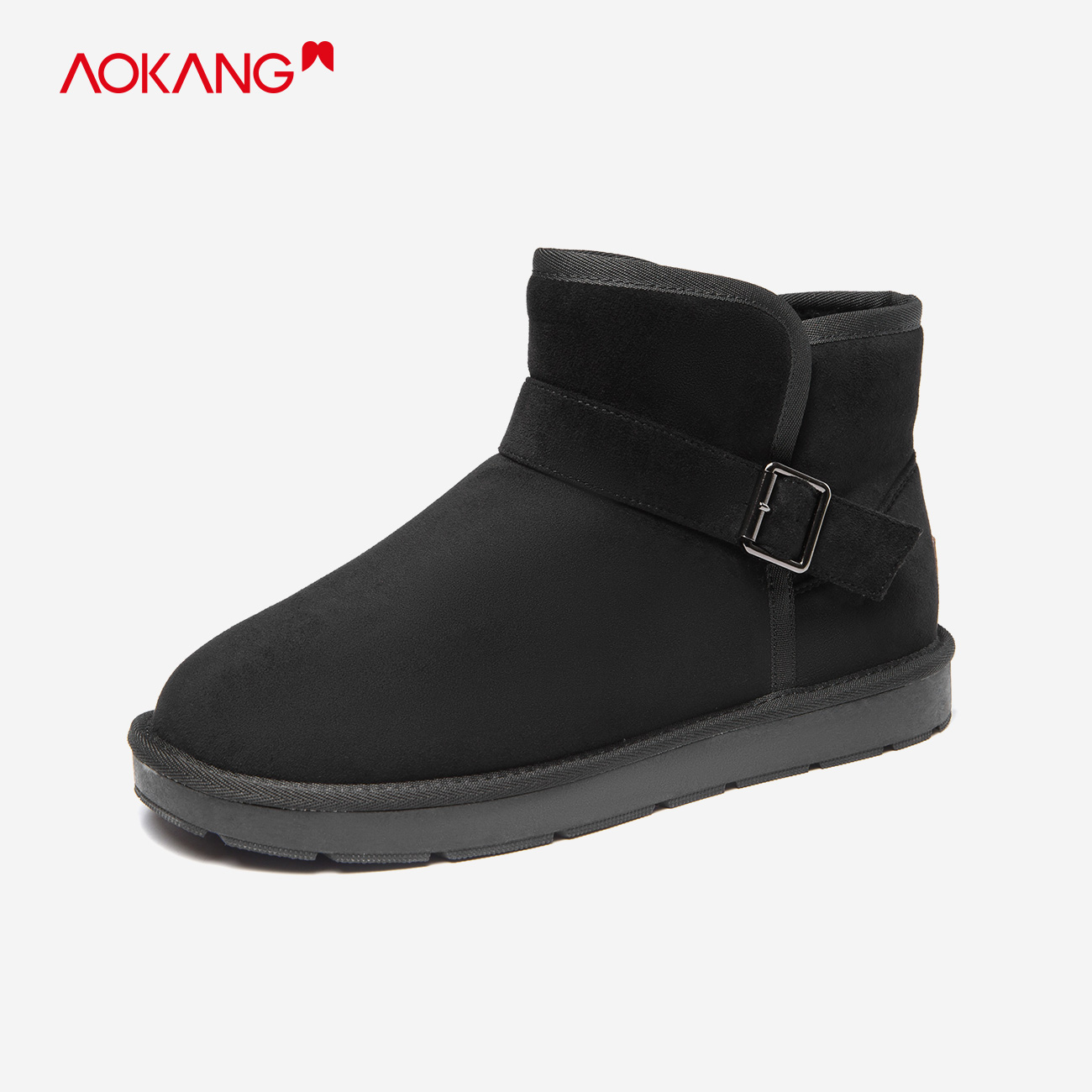 Aokang mens shoes 2020 winter new snow boots Plush warm thickening antiskid one foot outdoor cotton shoes