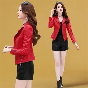 皮衣新款2021年女装短款高端时尚洋气红色机车服春秋皮夹克外套潮