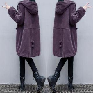 2020冬季新款复古灯芯绒棉服中长款宽松显瘦连帽保暖棉衣外套女装
