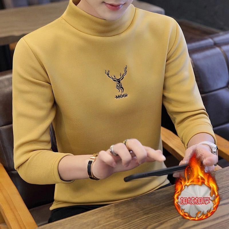 秋冬加绒卫衣新款加厚保暖长袖T恤男士半高领打底衫韩版学生款潮