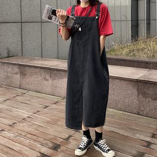 复古不规则开叉牛仔背带裙夏季女装新款韩版宽松大码中长款连衣裙