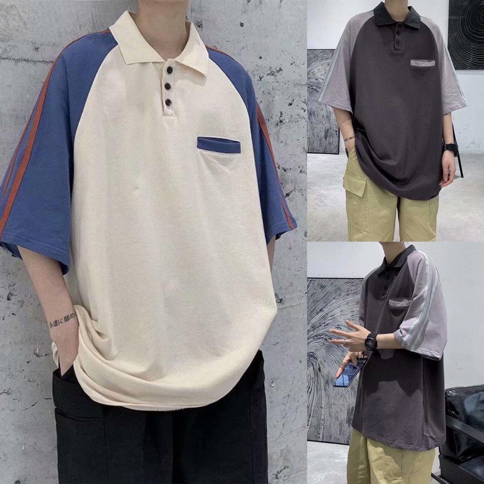 夏季ins港风小清新拼色PoloT恤衫男生韩版宽松情侣款打底体恤上衣