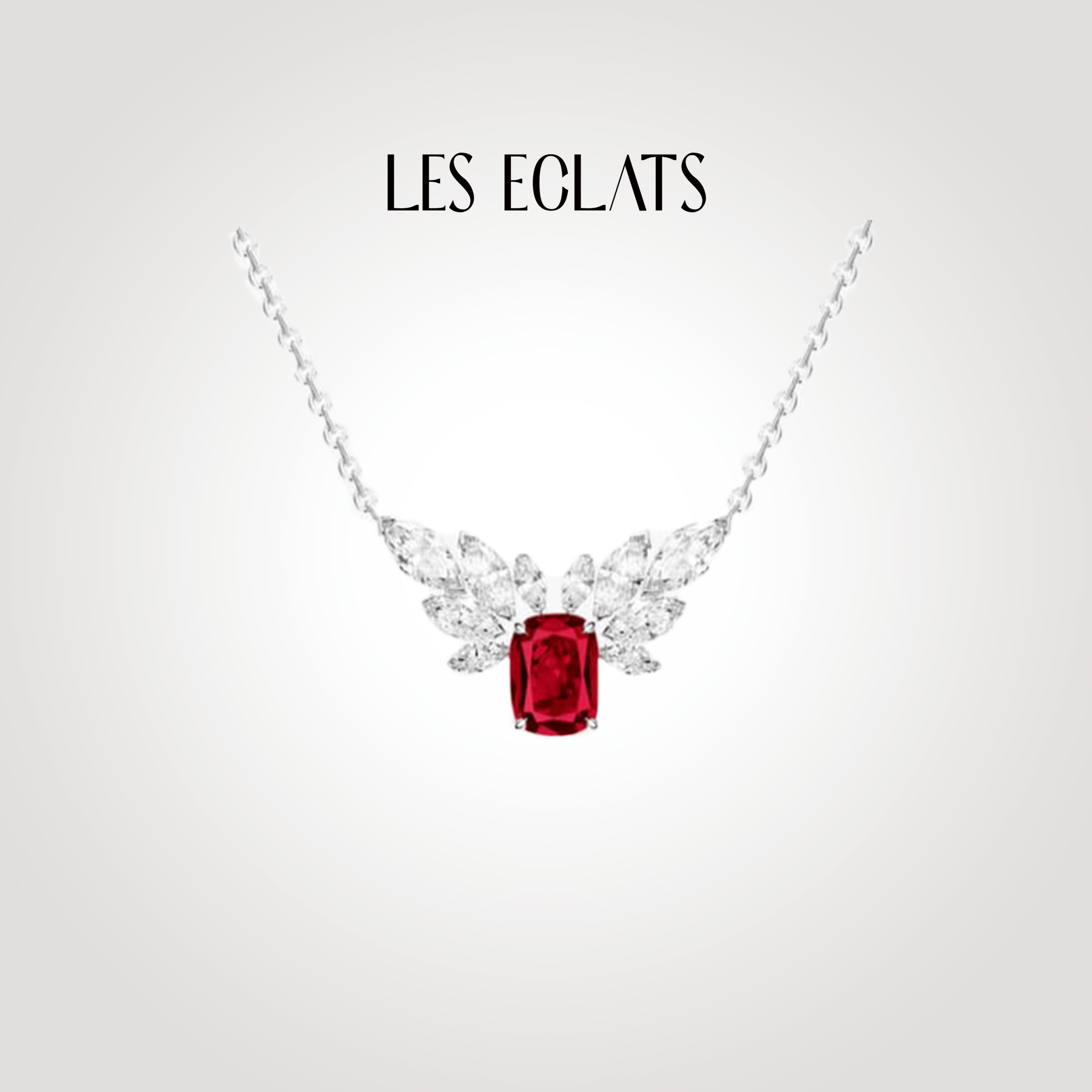 French les Eclats international high grade jewelry custom Ruby 18K gold inlaid GEM PENDANT NECKLACE