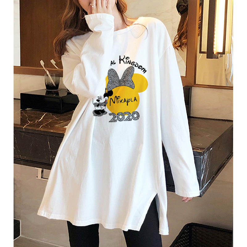 Spring and autumn new long sleeve T-shirt womens loose and thin large elastic bottomed shirt foreign style with medium and long top
