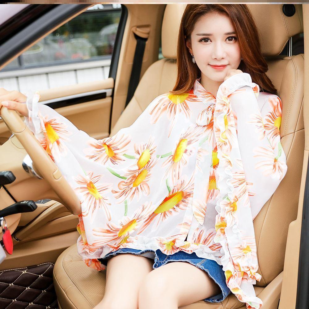 Summer sun proof shawl with sleeves new Long Beach Holiday multi function Korean version Poseidon style Beach
