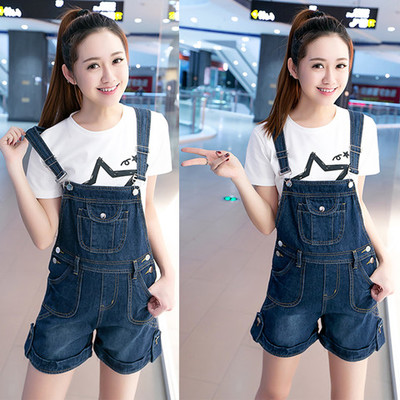 Summer clothes girls age reduction denim shoulder belt shorts female primary and secondary school students loose large size show thin suspender Jumpsuit