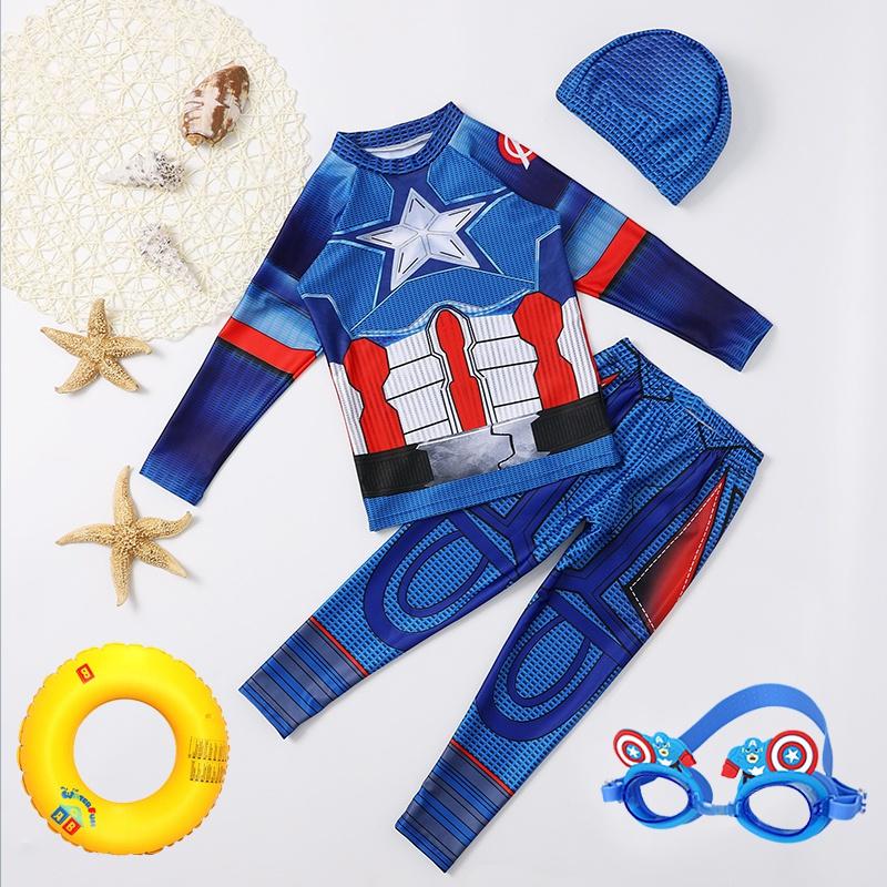儿童泳衣分体长袖长裤防晒速干小中大男童卡通队长学生专业游泳。