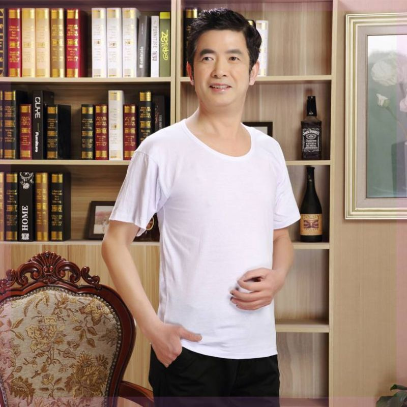 2021 ~ vest loose C home wear summer mens middle-aged silk cool mens Chinese thin I-shaped Korean style