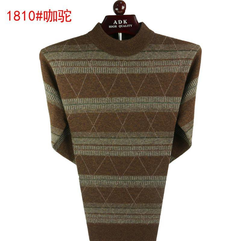 Cardigan mens half high collar Pullover mens sweater middle age casual sweater thickened warm m father jacket