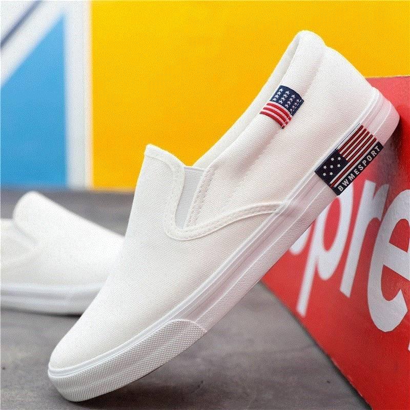 ,。春款懒汉白色一脚蹬豆豆鞋男士春秋帆布鞋韩版青少年百赖人鞋