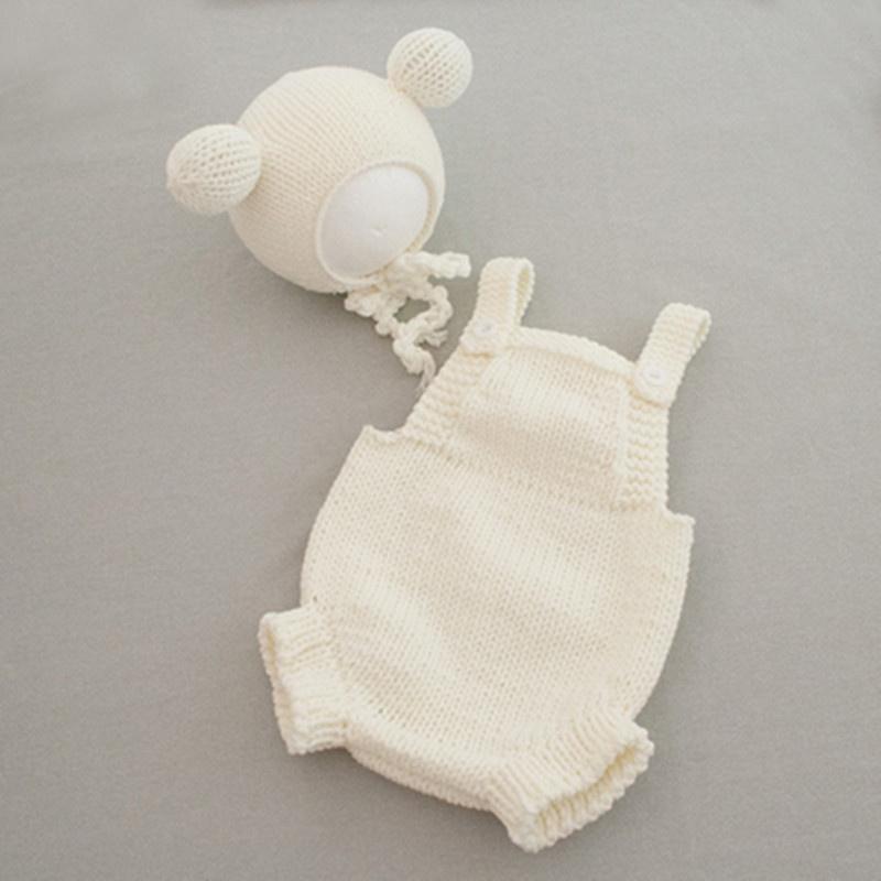 2i021展会新款儿童摄影道具百天宝宝拍照帽子婴儿拍摄小熊造型服