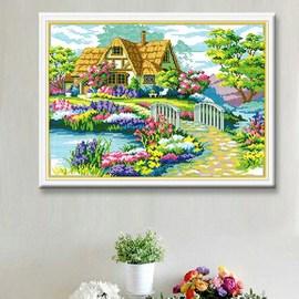 新款钻石画美丽家园餐厅卧室系列小图十字绣贴钻画田园小屋满钻图