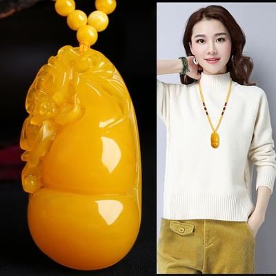 Chicken oil yellow gourd pendant natural second generation honey wax purse Necklace sweater bead chain amber carving jewelry for men and women