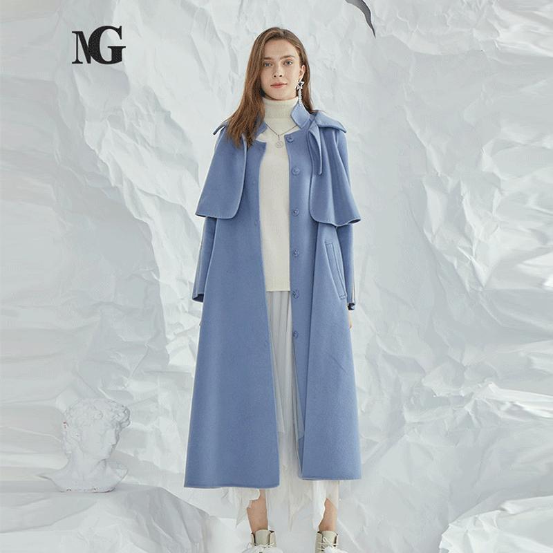 Ng fashion medium and long windbreaker style two-piece set lady style long wool coat knee length tweed coat woman