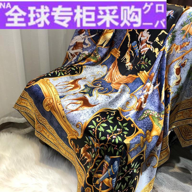 日本TV重磅真丝丝巾女希腊神话天使春秋季百搭桑蚕丝大方巾围巾披