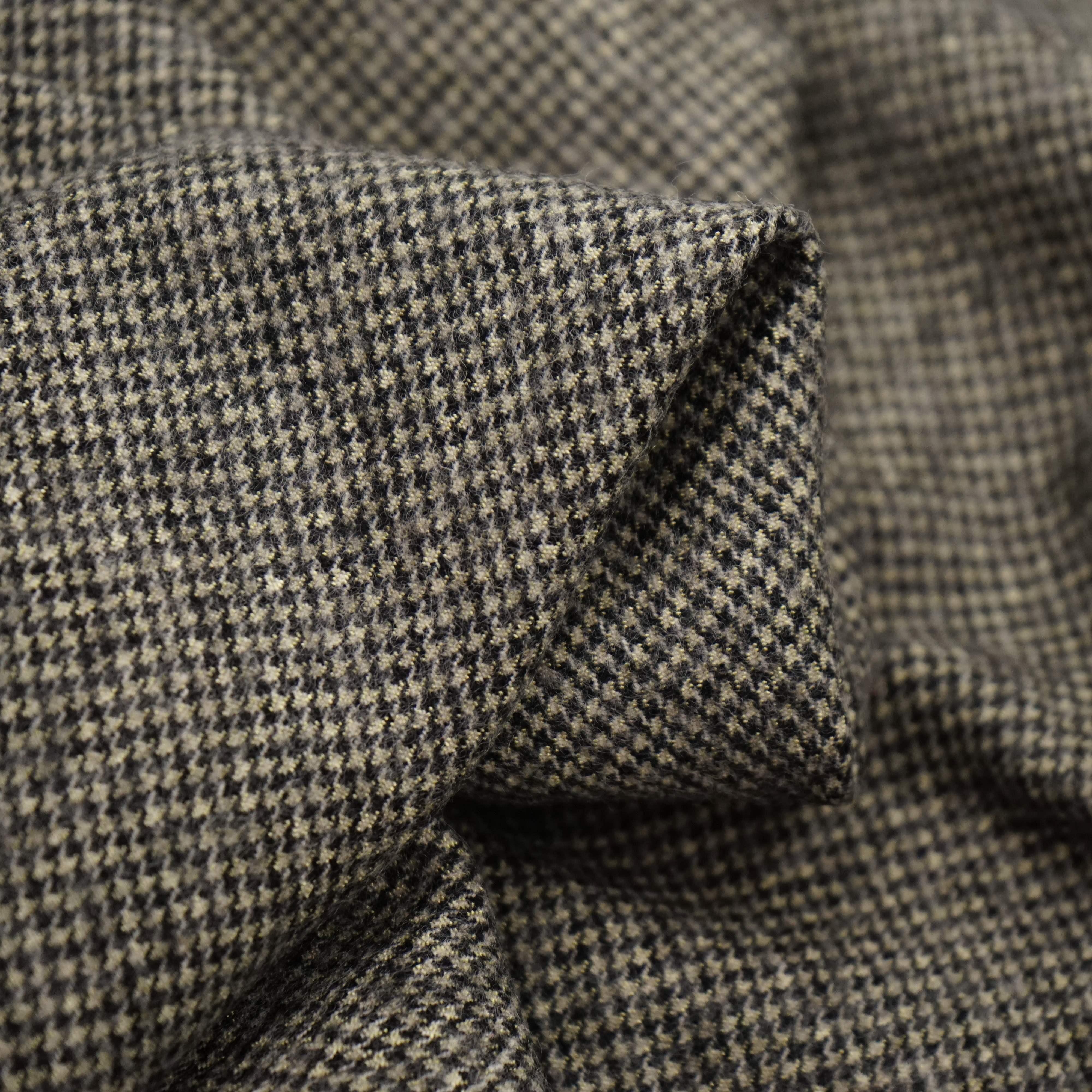 金丝磨毛小千鸟半精纺羊毛面料 520g偏厚复古千鸟格子粗花呢布料