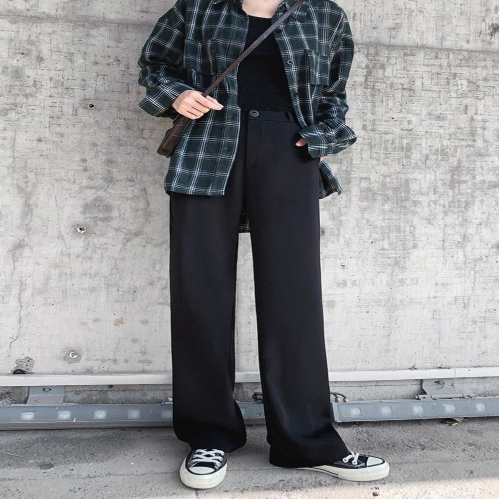 中國代購 中國批發-ibuy99 连体西装女 阔腿裤女夏季薄款高腰垂感黑色显瘦小个子西装直筒宽松拖地休闲裤