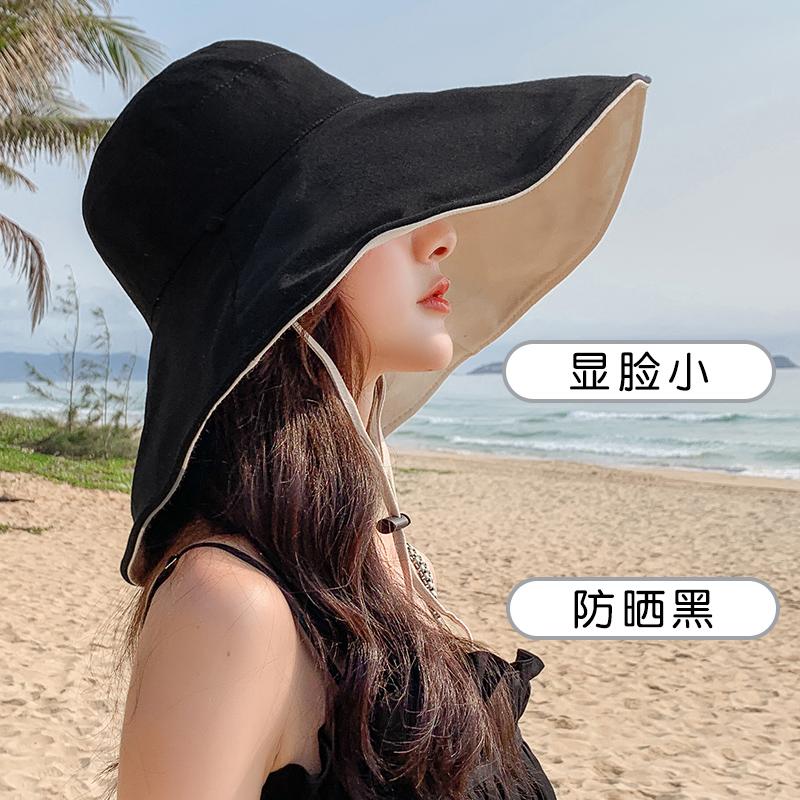 中國代購|中國批發-ibuy99|女士帽子|渔夫帽子女遮脸遮阳大檐帽韩版百搭黑色女士防晒双面戴日系太阳帽