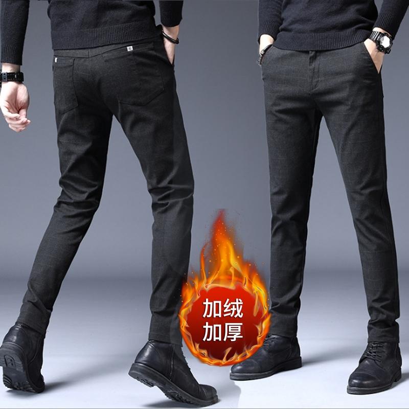 加绒加厚秋冬季男士保暖修身裤大码休闲裤
