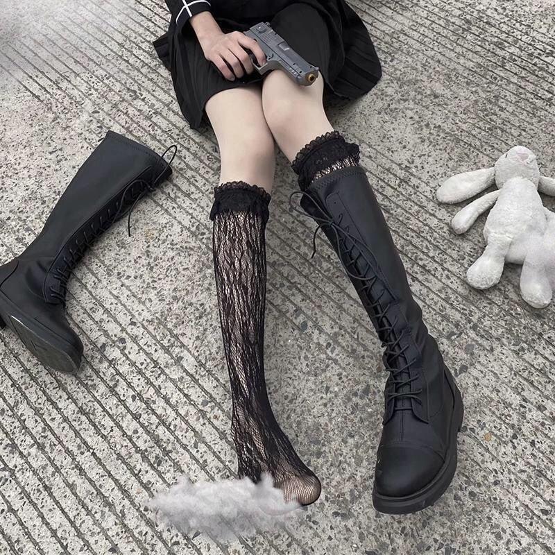 马丁长筒靴子白色花边蕾丝袜过膝镂空骑士靴洛丽塔小腿袜子女中筒