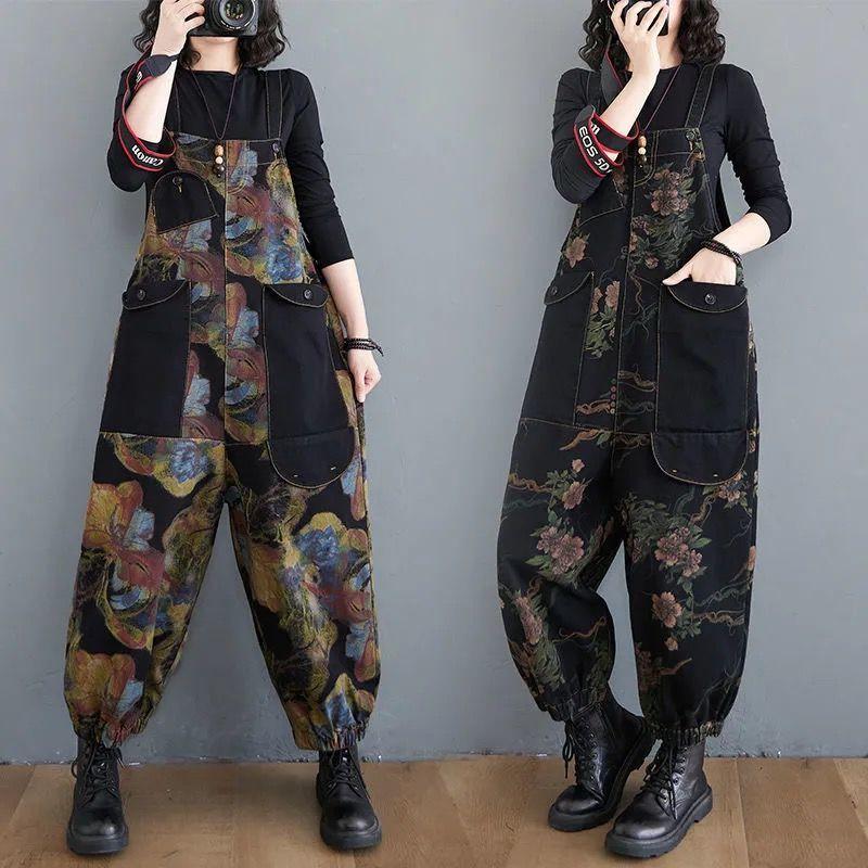High waist denim suspenders womens loose large straight leg pants retro aging large pocket suspenders one-piece pants