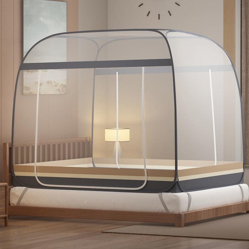 蚊帐蒙古包免安装家用1.5米双人床1.8m宿舍单人0.9M有底拉链双门